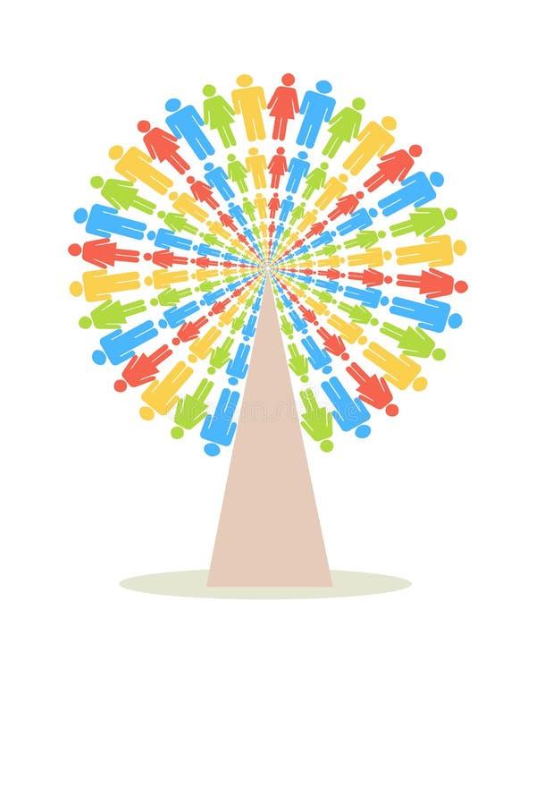 Árvore dos povos da cor ilustração do vetor