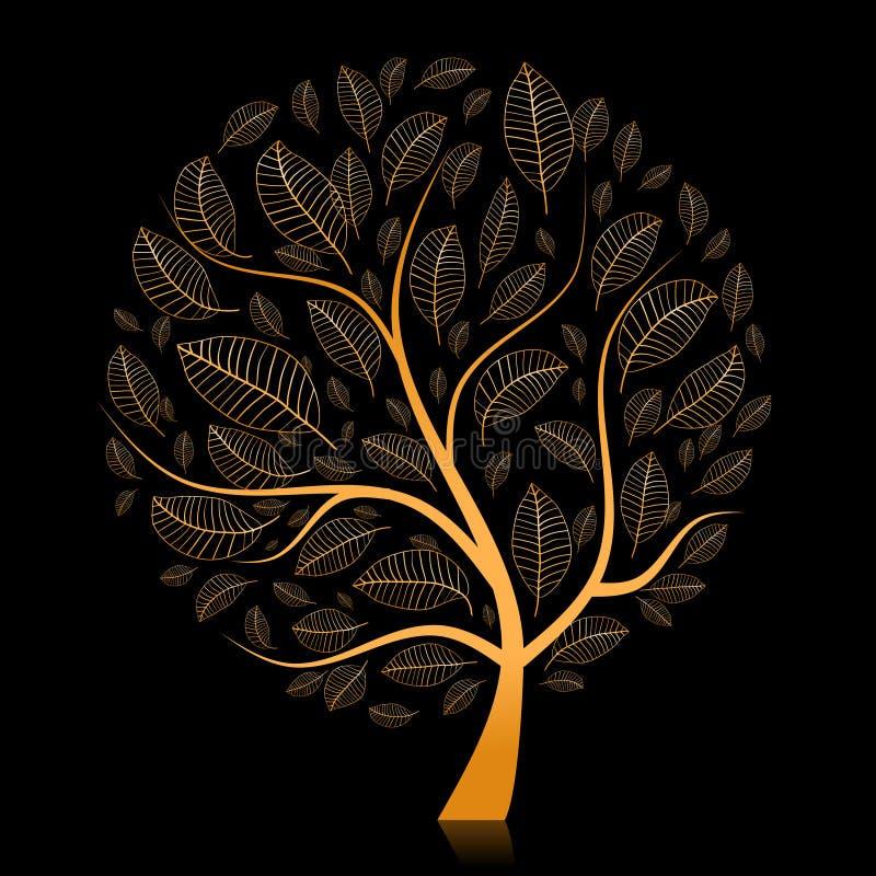 Árvore dourada bonita para seu projeto ilustração royalty free