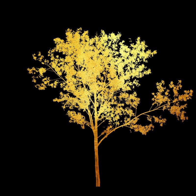 Árvore dourada brilhante com as folhas isoladas no fundo preto Elemento do projeto ilustração royalty free