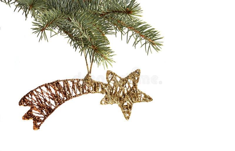 Árvore dourada da estrela do Natal e de Natal imagem de stock