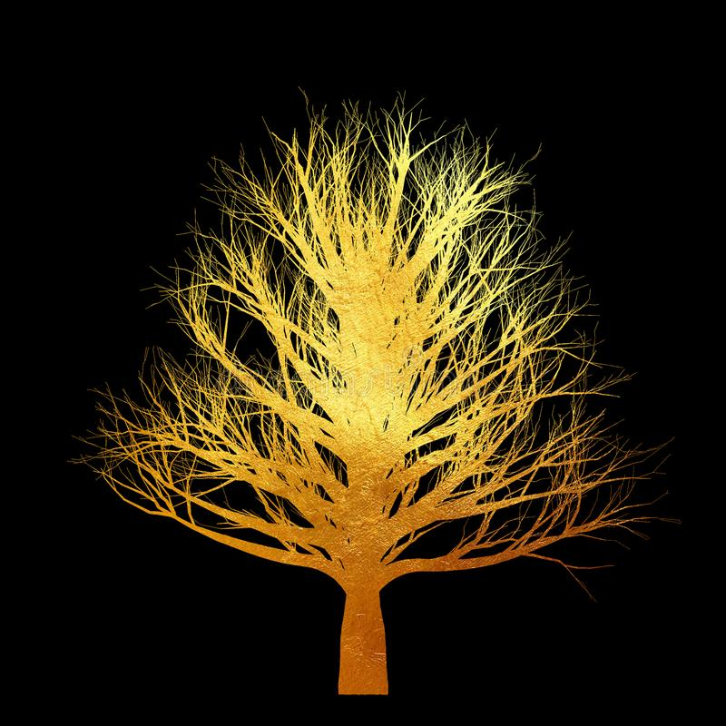 Árvore dourada sem folhas isoladas no fundo preto ilustração do vetor