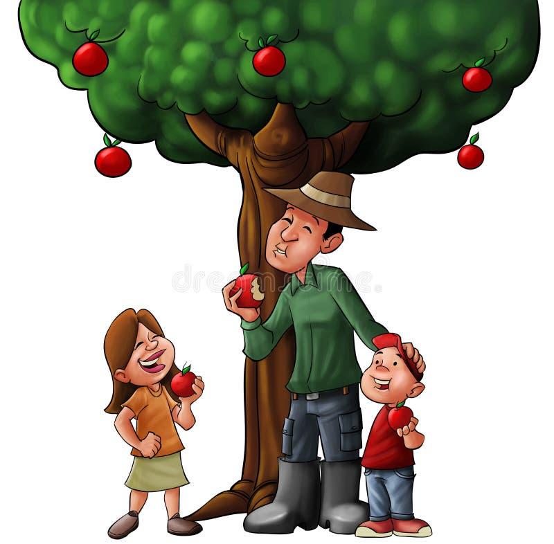Árvore e alimento de família ilustração royalty free