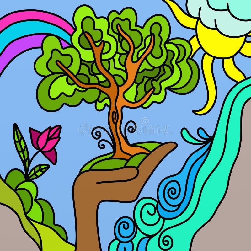 Árvore e arco-íris ilustração royalty free
