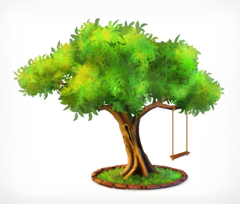 Árvore e balanço verdes ilustração royalty free