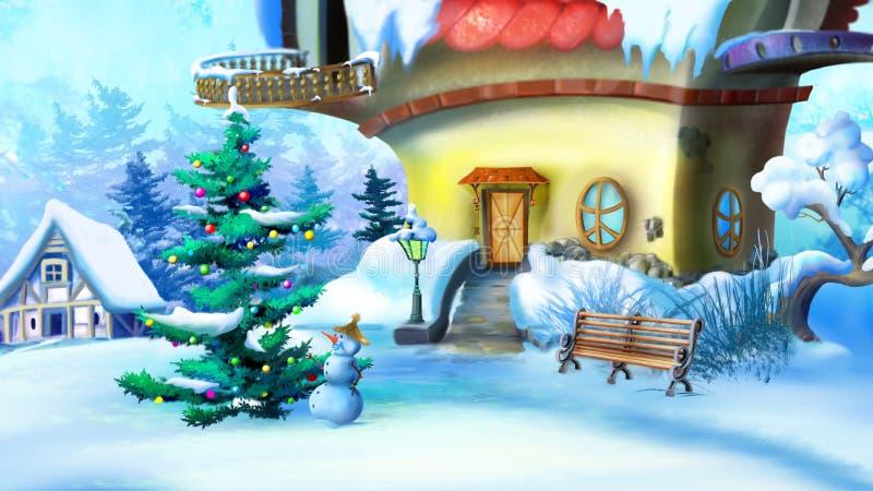 Árvore e boneco de neve de Natal perto de uma casa do conto de fadas ilustração stock