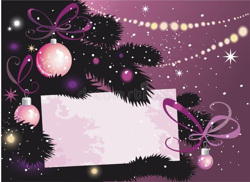 Árvore e cartão da Noite de Natal ilustração royalty free