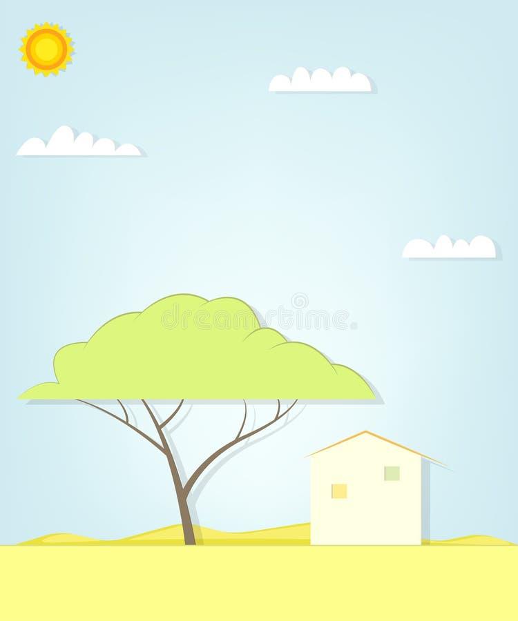 Árvore e casa no deserto ilustração do vetor