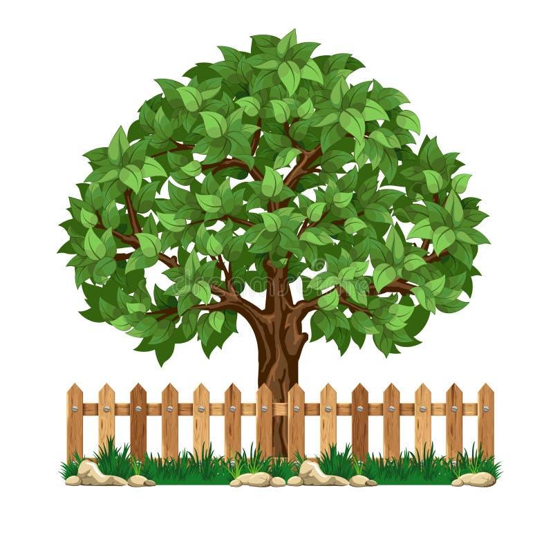 Árvore e cerca ilustração stock