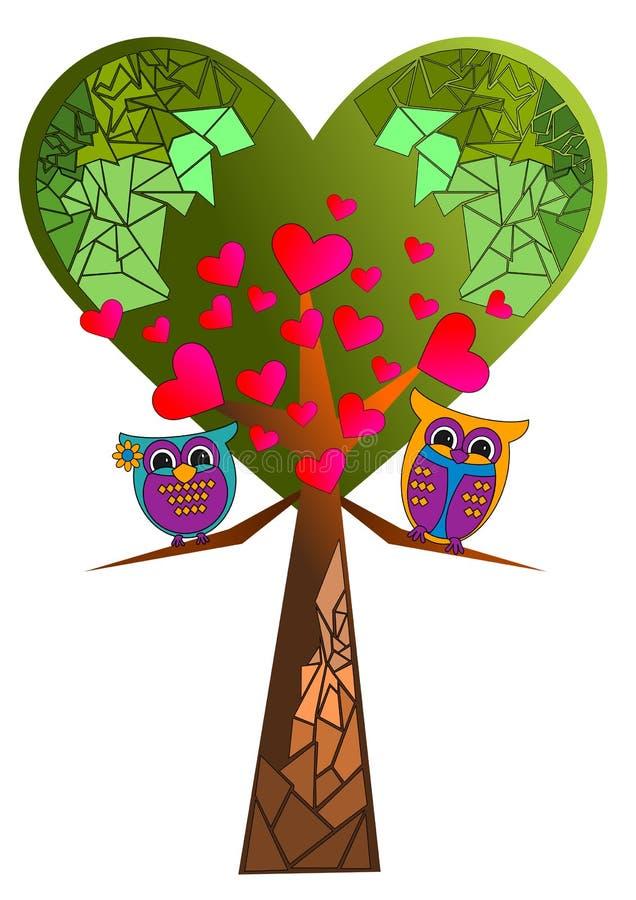 Árvore e coruja do coração ilustração stock