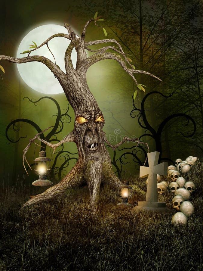 Árvore e crânios do monstro ilustração stock