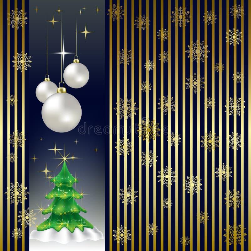 Árvore e esferas de Natal em um ouro ilustração royalty free