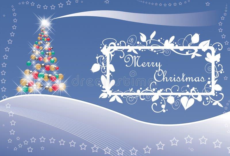 Árvore e estrelas de Natal com texto ilustração do vetor