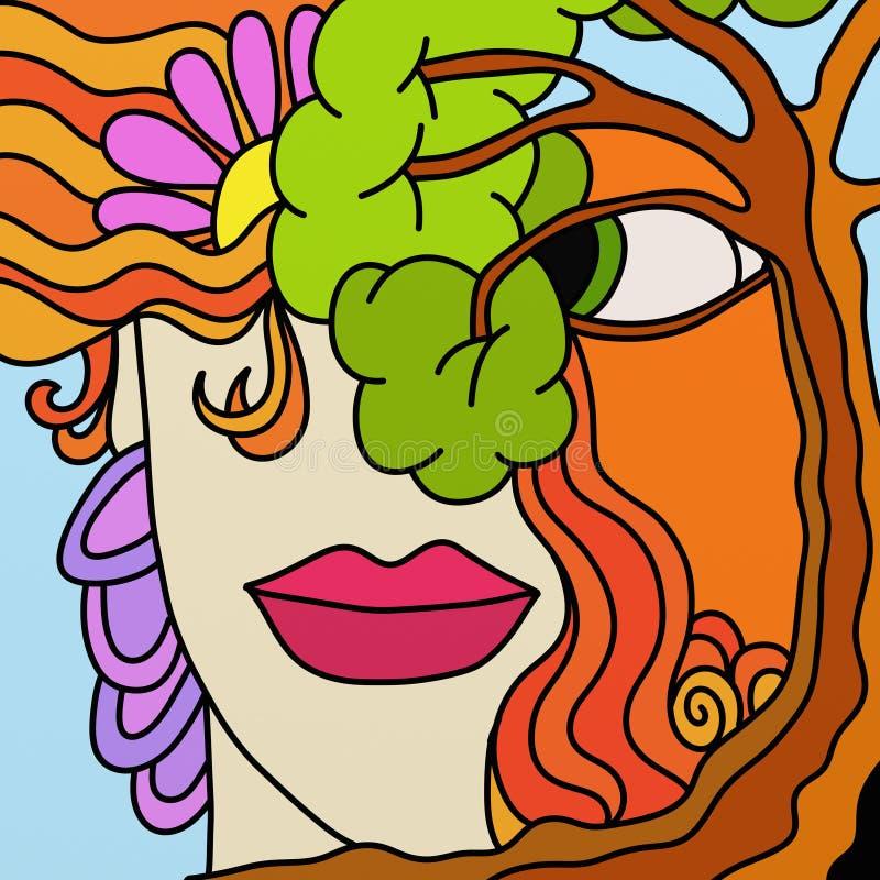 Árvore e face ilustração royalty free