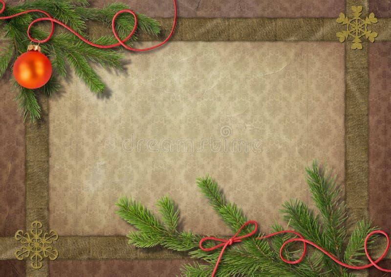 Árvore e floco de neve de Natal do vintage fotografia de stock