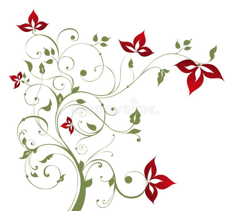 Árvore e flor vermelha ilustração royalty free