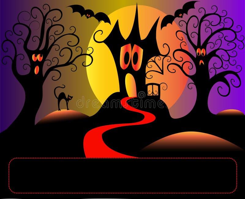 Árvore e gato receosos da casa em Halloween ilustração royalty free