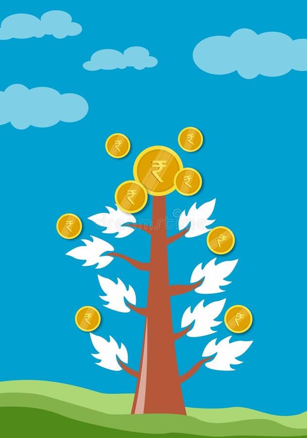 Árvore e gráfico no conceito do crescimento de dinheiro no negócio, moedas no fundo branco imagem de stock royalty free