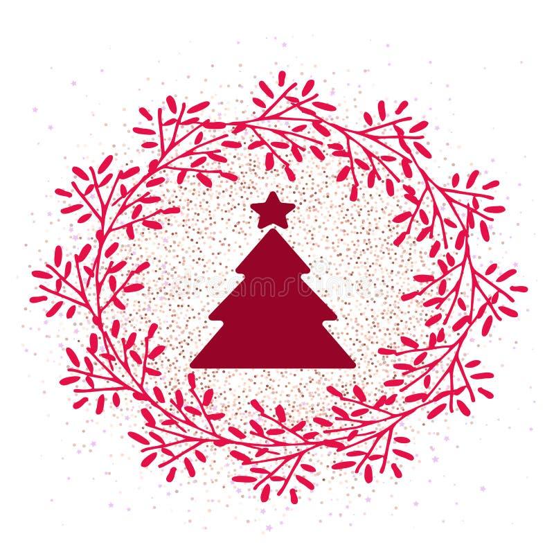 Árvore e grinalda de Natal do ícone do vetor ilustração do vetor