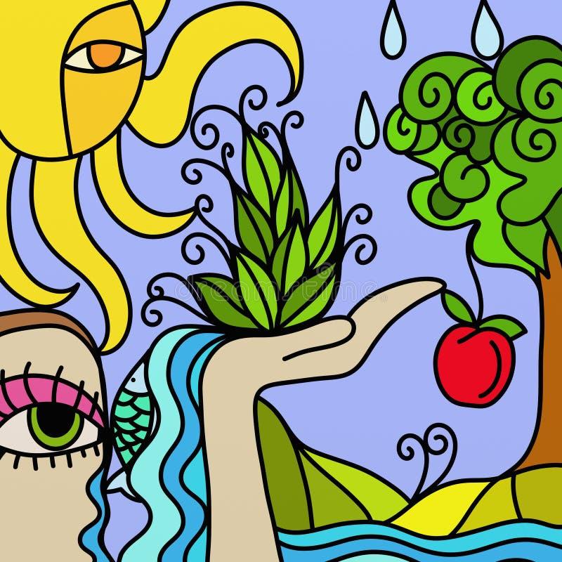 Árvore e maçã ilustração do vetor