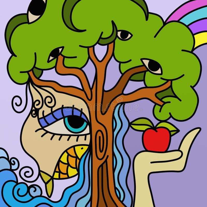 Árvore e maçã ilustração stock