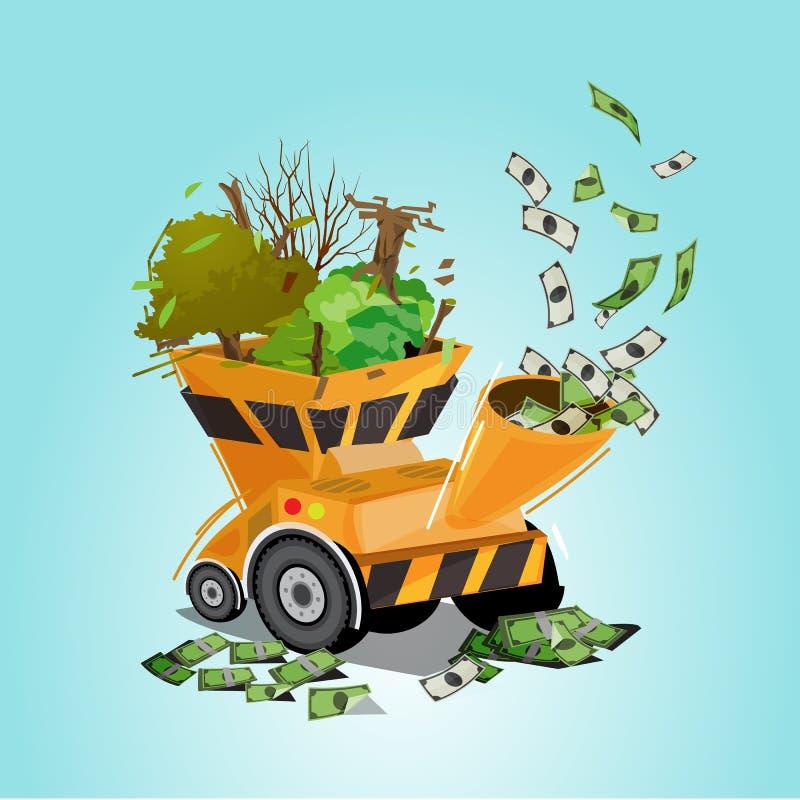 Árvore e madeira na máquina de processamento ou na máquina do pulverizer com dinheiro como a saída mundo de dano para o dinheiro  ilustração royalty free