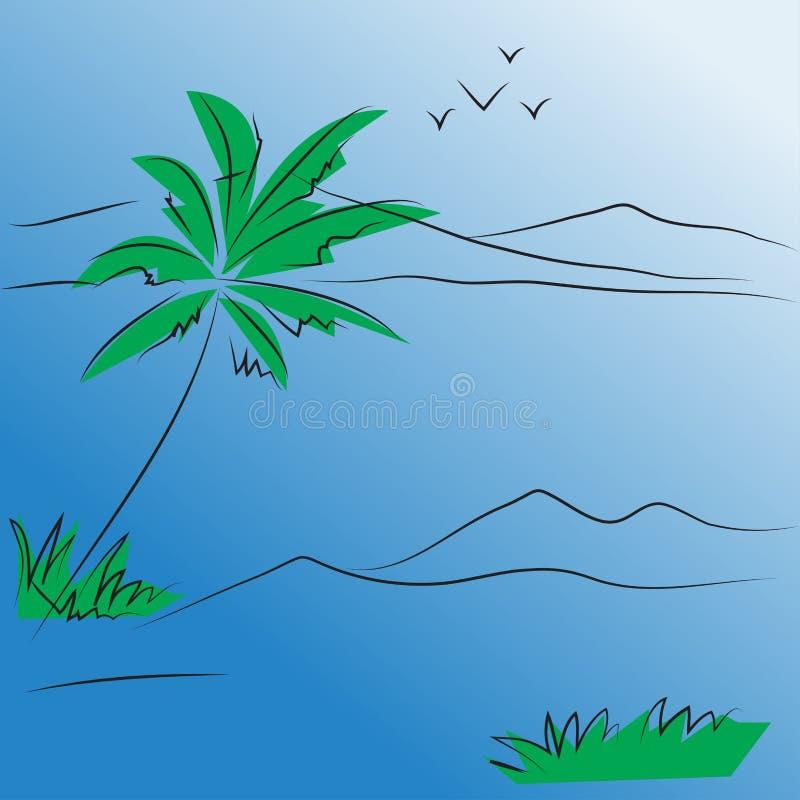 Árvore e montanha abstratas do vetor do seascape do fundo ilustração royalty free