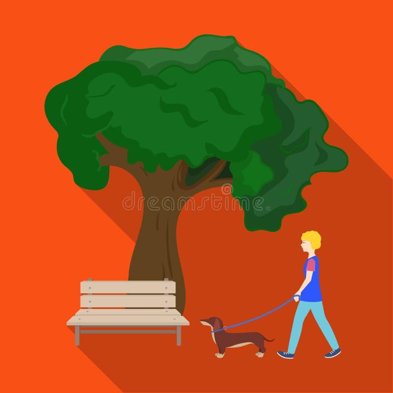 A árvore e o banco, mulher andam um animal de estimação no parque Animal de estimação, ícone do cuidado do cão único na ilustraçã ilustração royalty free