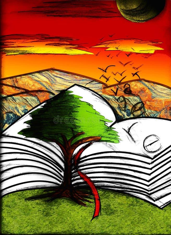 A árvore e o livro ilustração royalty free