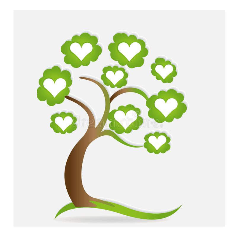 A árvore e os corações da ecologia do logotipo amam a imagem do ícone do vetor ilustração royalty free