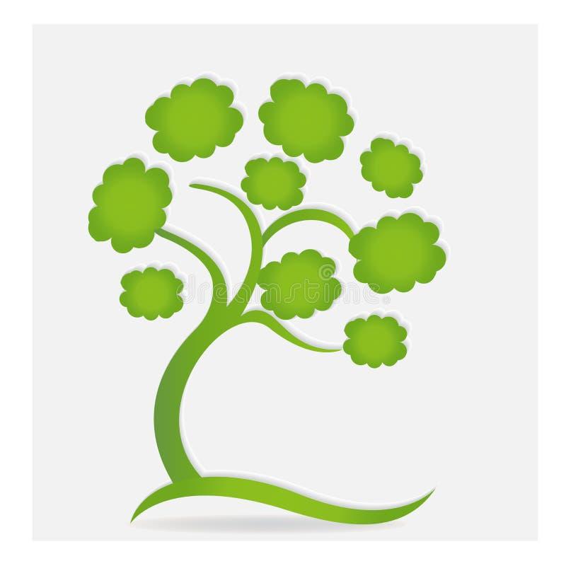 A árvore e os corações da ecologia do logotipo amam a imagem do ícone do vetor ilustração stock