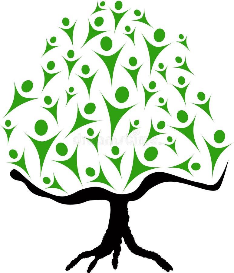Árvore e povos ilustração royalty free