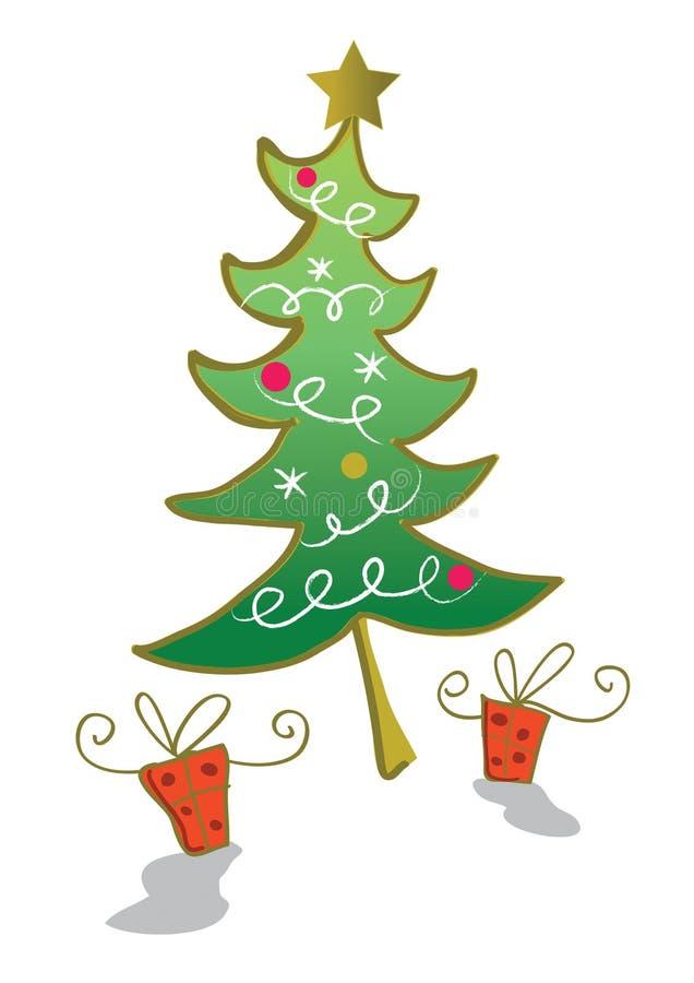 Árvore e presentes de Natal ilustração do vetor