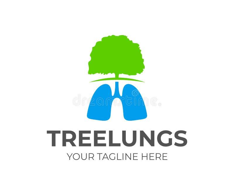 Árvore e pulmões, projeto do logotipo Médico, natureza e proteção ambiental, projeto do vetor ilustração stock