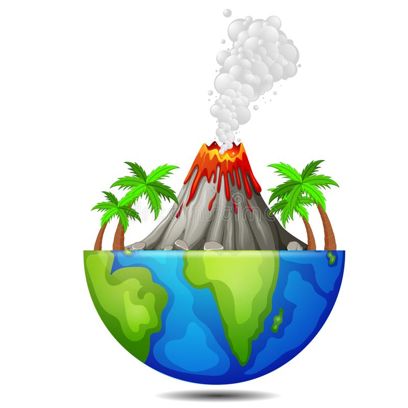 Árvore e vulcão na terra ilustração royalty free
