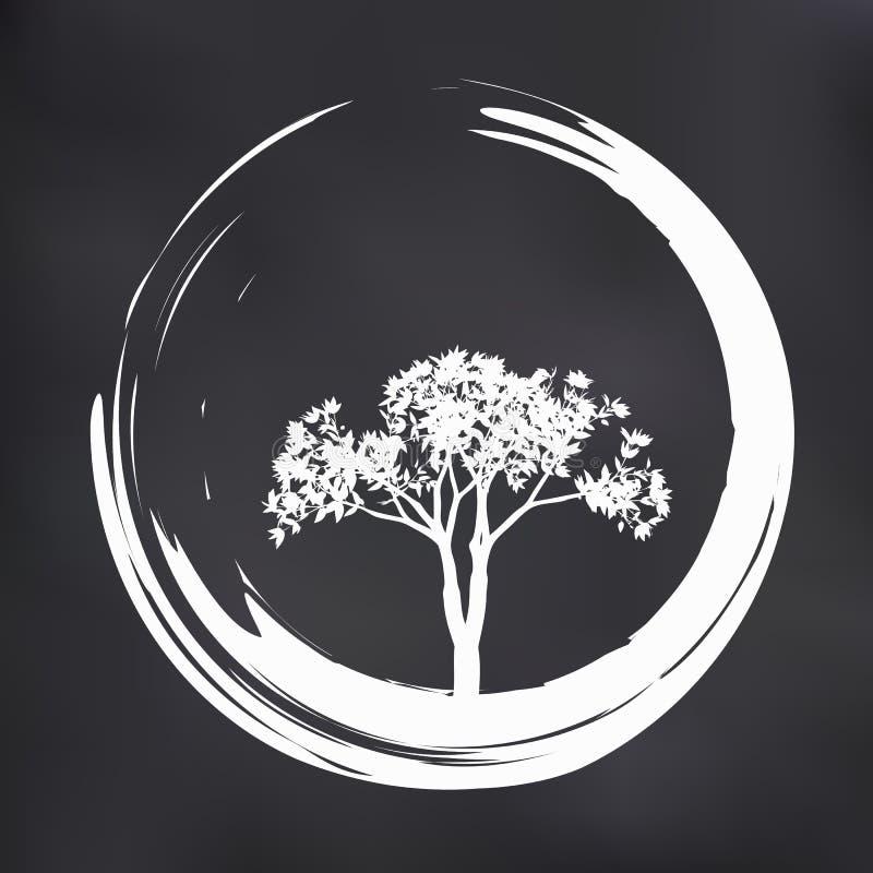 Árvore e Zen Circle Illustration do vetor no fundo natural ilustração royalty free