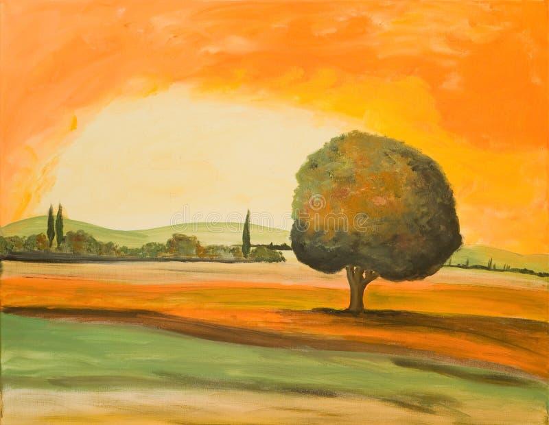 Árvore em uma paisagem de Toscânia fotografia de stock