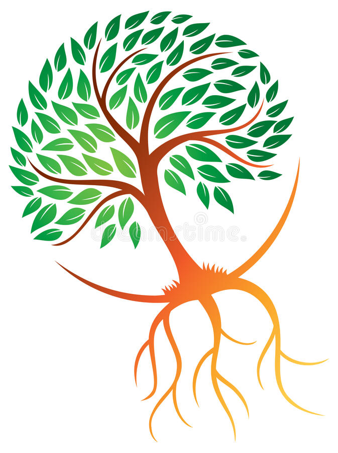 A árvore enraíza o logotipo