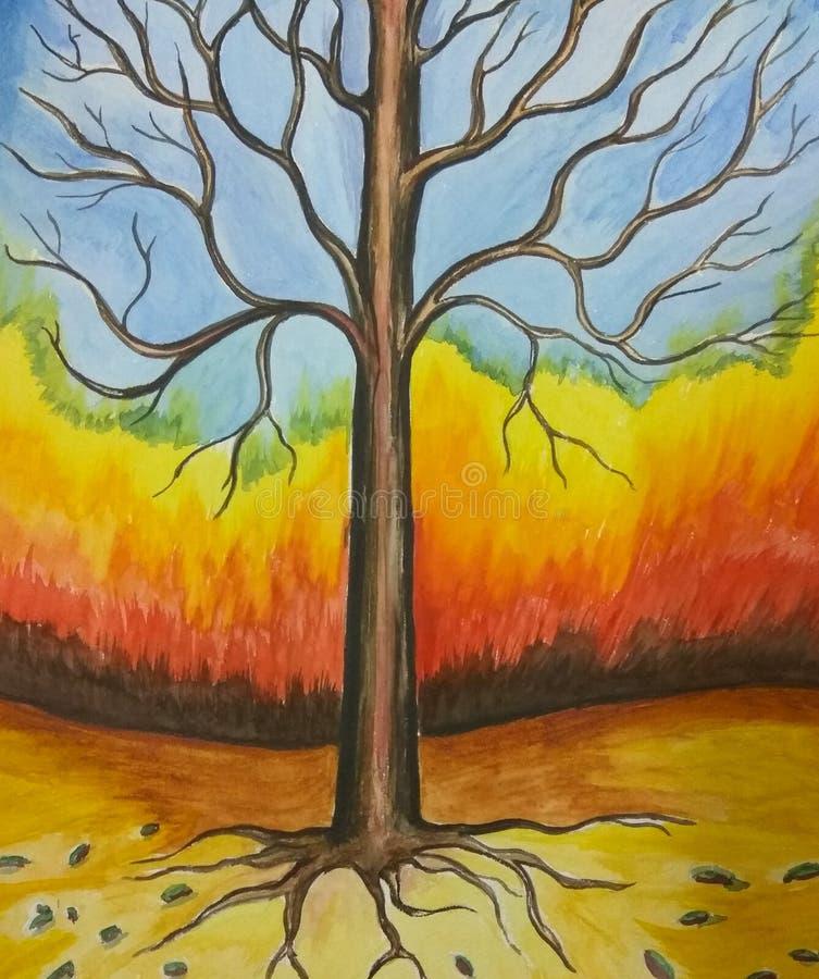 A árvore enraíza a pintura abstrata ilustração royalty free