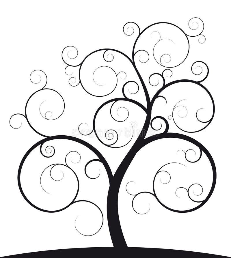Árvore espiral preta ilustração royalty free