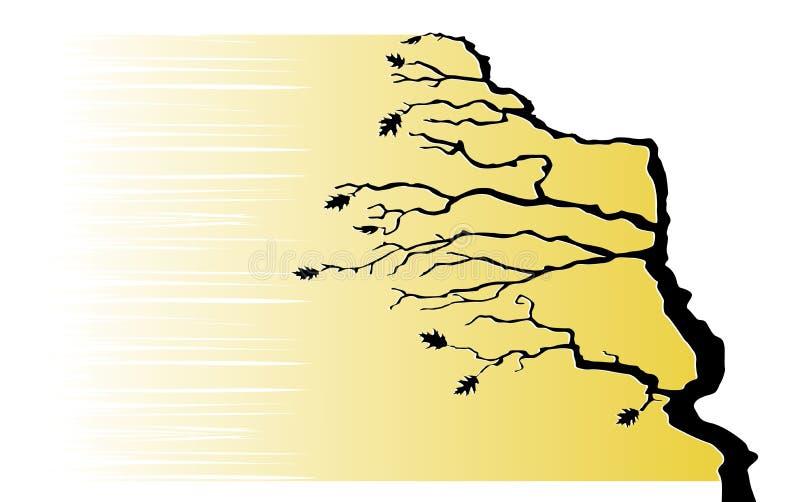 A árvore está dobrando-se pelo vento ilustração royalty free