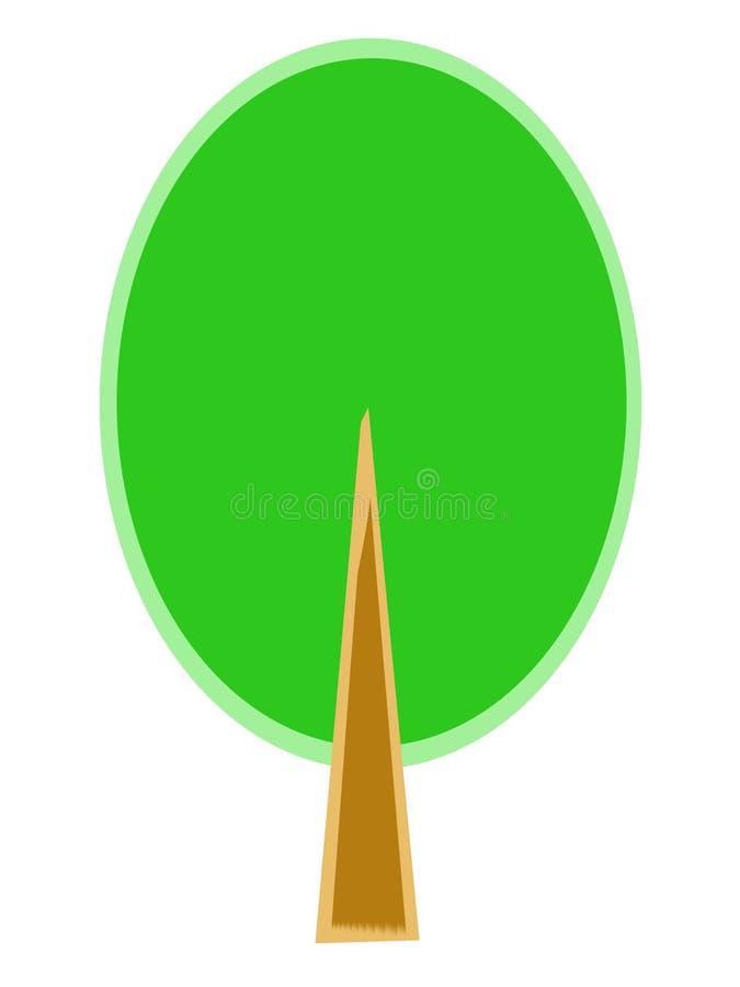 Árvore estilizado com coroa verde imagens de stock