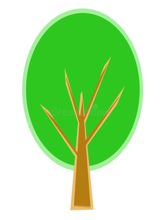 Árvore estilizado com folha e ramos verdes imagem de stock royalty free