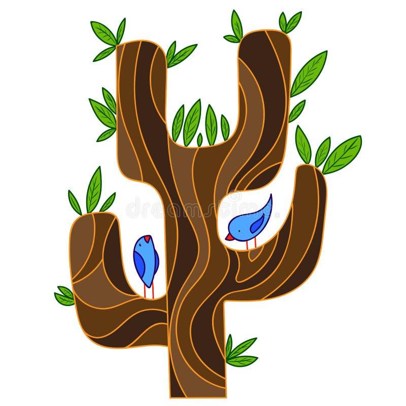 Árvore estilizado do sumário com aves canoras ilustração royalty free
