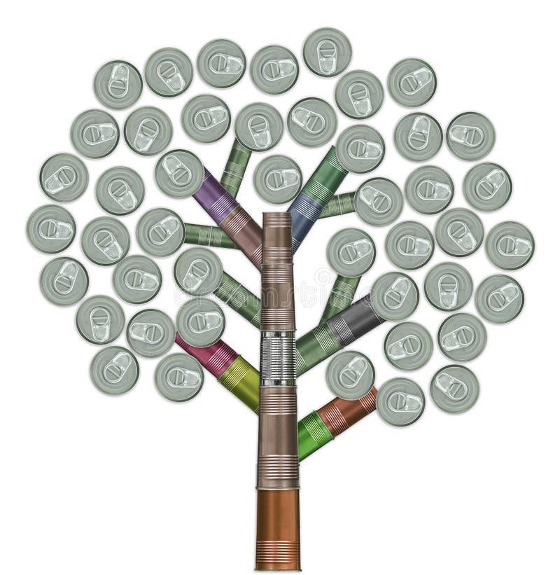 Árvore feita de latas recicl variedade ilustração royalty free