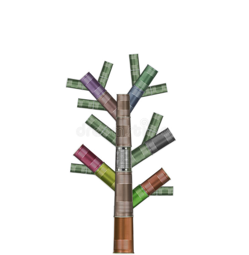 Árvore feita de latas recicl variedade fotos de stock royalty free