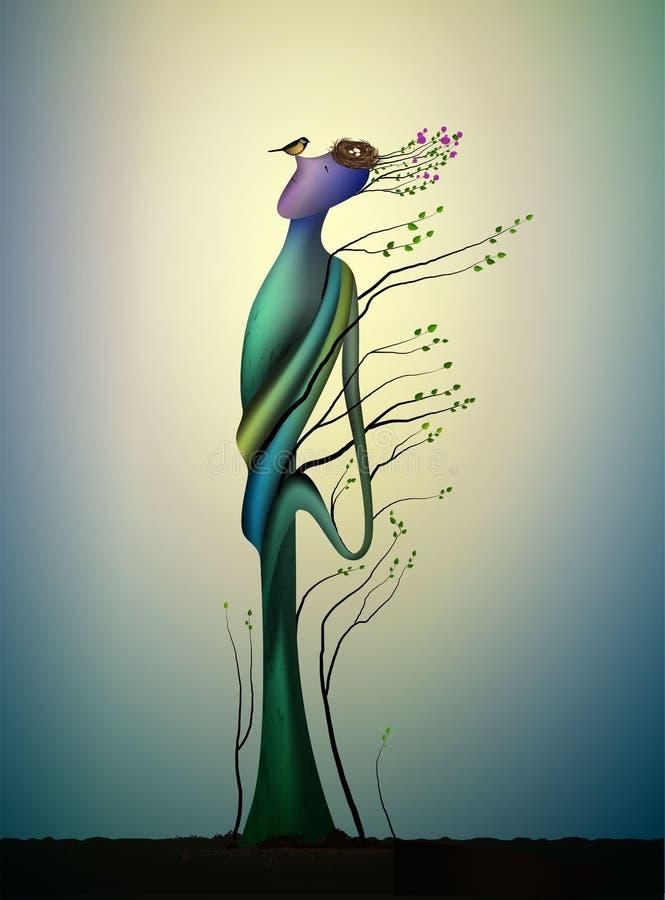 ?rvore feliz viva da mola com titmouses p?ssaro, conceito da ?rvore feliz, alma da ?rvore, homem como o sorriso ao p?ssaro, conto ilustração do vetor