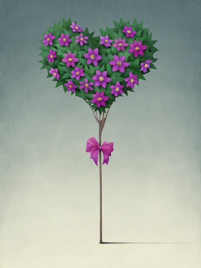 Árvore festiva na forma do coração. ilustração royalty free