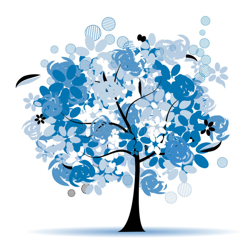 Árvore floral bonita ilustração royalty free