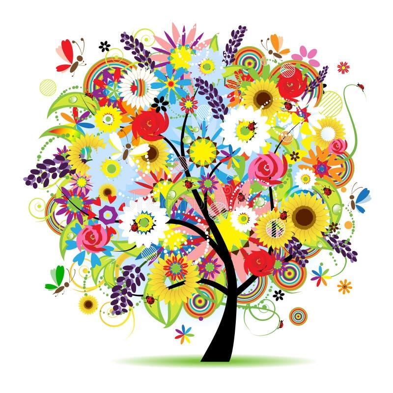 Árvore floral bonita ilustração do vetor