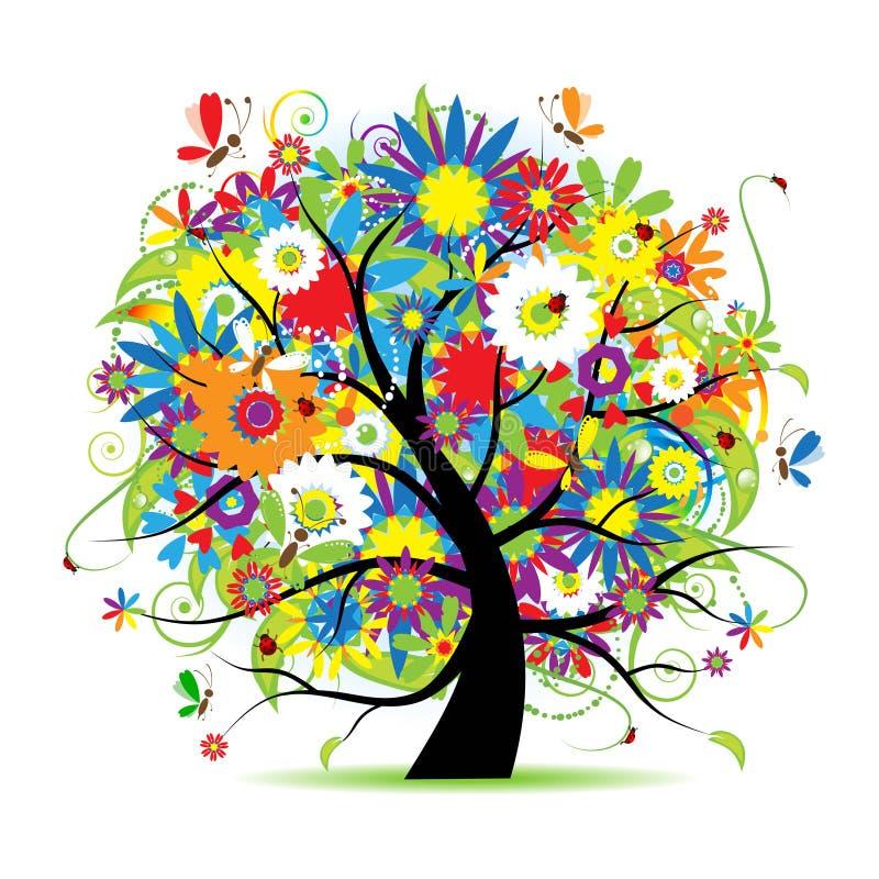 Árvore floral bonita ilustração stock